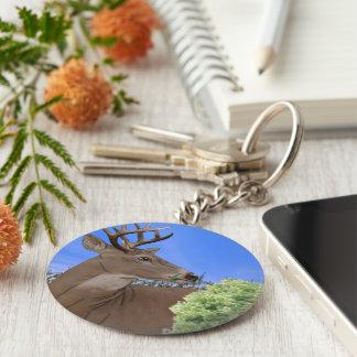 Whitetail Buck Deer Basic Round Button Keychain