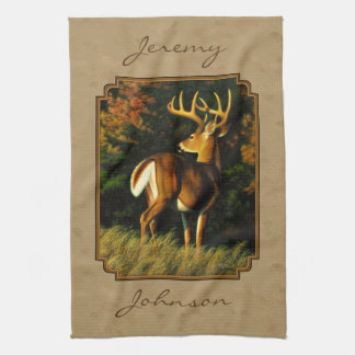 Whitetail Buck Deer Hunting Tan Kitchen Towel
