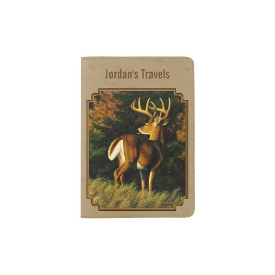 Whitetail Buck Deer Hunting Tan Passport Holder