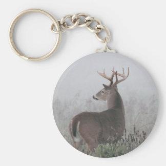 Whitetail Buck in morning fog Keychain