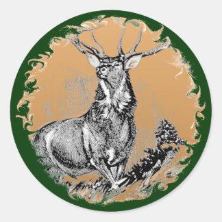Whitetail Buck Woodblock Illustration Classic Round Sticker