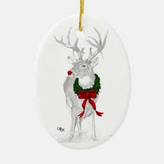 Whitetail Christmas Ceramic Ornament