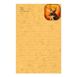Whitetail Deer Autumn Gold Stationery