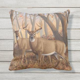 Whitetail Deer Buck & Doe Autumn Maple Woods Outdoor Pillow