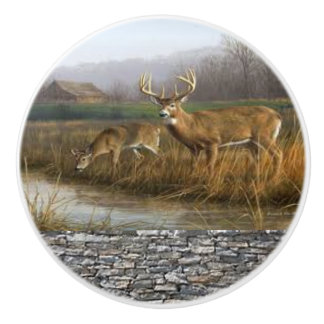 Whitetail Deer ceramic door handle and pulls