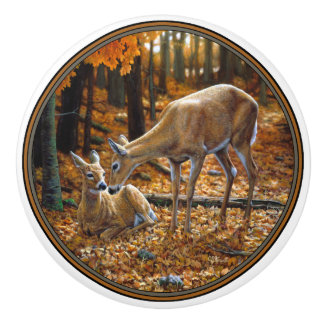 Whitetail Deer Doe and Fawn Autumn Ceramic Knob