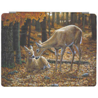 Whitetail Deer Doe and Fawn Autumn iPad Cover