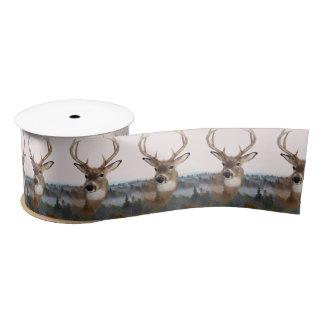 Whitetail Deer Double Exposure Ribbon Satin Ribbon