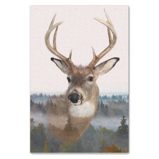 Whitetail Deer Double Exposure Tissue Paper