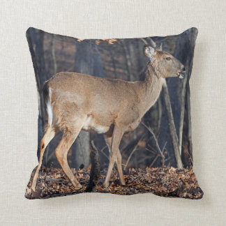 Whitetail Deer Eating Acorns At Sunrise Throw Pillow
