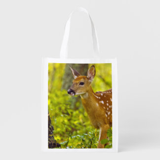 Whitetail deer fawn in Whitefish, Montana, USA Grocery Bag
