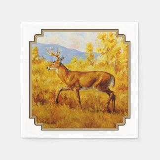 Whitetail Deer in Autumn Aspen Forest Disposable Napkin