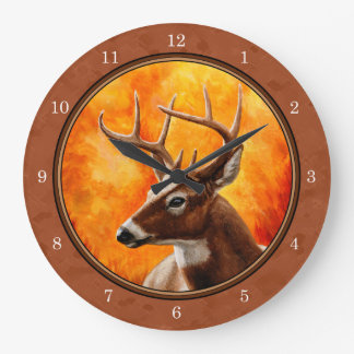 Whitetail Deer in Autumn Reddish Brown Large Clock