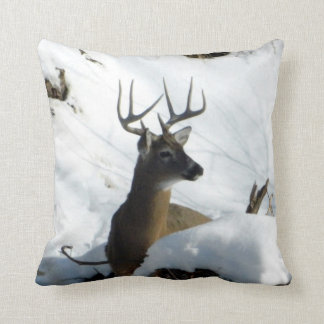 Whitetail Deer in Snow Pillow