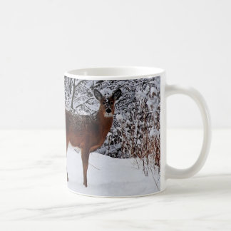 Whitetail  Deer in Winter Snow Coffee Mug