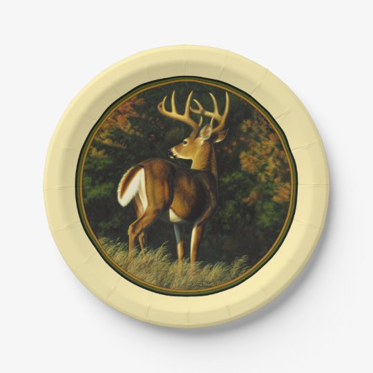 Whitetail Deer Monster Buck Yellow 7 Inch Paper Plate
