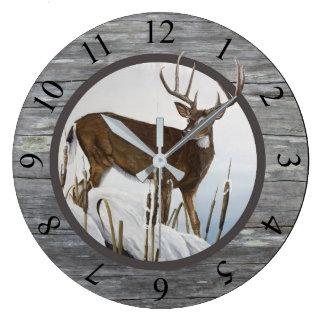 Whitetail Deer Rustic Design Large Clock