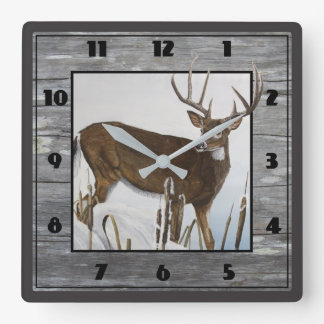 Whitetail Deer Rustic Design Square Wall Clock