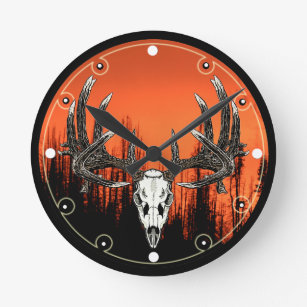 Whitetail deer skull 6 round clock