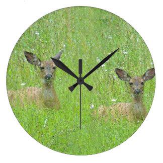Whitetail Deer Wildlife Animals Fawns Clock