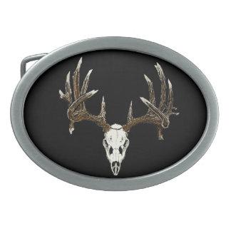 Whitetail skull belt buckles