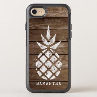 Whitewash Pineapple, Faux Weathered Wood OtterBox Symmetry iPhone 8/7 Case