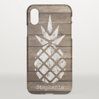Whitewash Pineapple on Wood, Personalize Option iPhone X Case