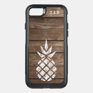 Whitewash Pineapple, Weathered Wood OtterBox Commuter iPhone 8/7 Case