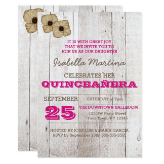 Whitewash Plum Quinceañera Invitation
