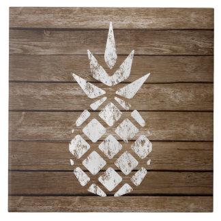 Whitewash Stamp Art Pineapple | Rustic Wood Tile