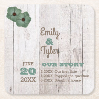 Whitewash Teal Rustic Personalized Square Paper Coaster