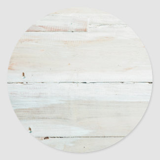 Whitewashed Barn Wood White Woodgrain Classic Round Sticker