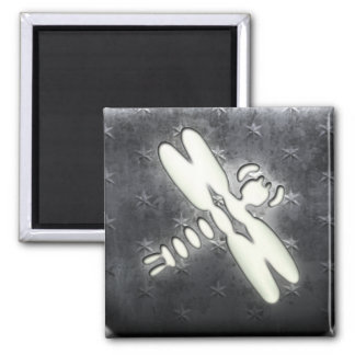 Whitewashed Dragonfly Square Magnet