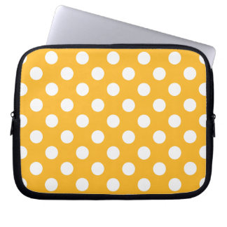 Whitle polka dots on yellow laptop computer sleeve
