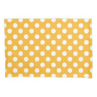 Whitle polka dots on yellow pillowcase