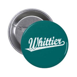 Whittier script logo in white distressed 2 inch round button