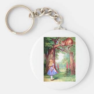"""WHO ARE YOU?"" THE CHESHIRE CAT ASKS ALICE. KEYCHAIN"