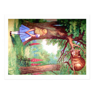 """""""WHO ARE YOU?"""" THE CHESHIRE CAT ASKS ALICE. POSTCARD"""