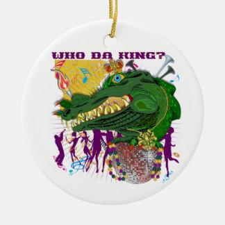 Who Da King? Louisiana Custom Throw Round Ceramic Ornament