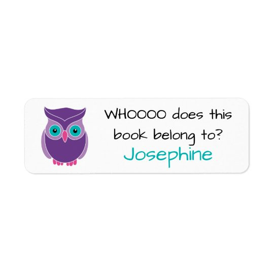 Who Does this Book Belong To Cute Kids Purple Owl