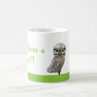 Who Gives a Hoot? Silver Burrowing Owl Art Coffee Mug