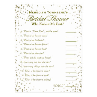Who' Know's Me Game | Gold Confetti Postcard