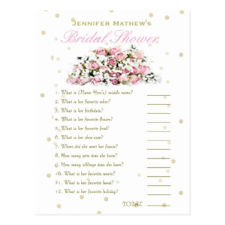 Who' Know's Me Game   Pink Roses Postcard