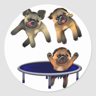 who let the pugs out classic round sticker