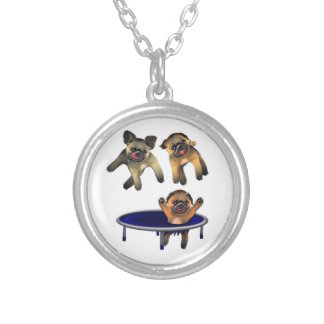 who let the pugs out silver plated necklace