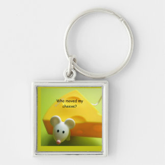 Who moved my cheese? Premium Square Silver-Colored Square Keychain