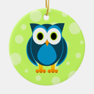 Who? Mr. Blue Owl Green Background Round Ceramic Ornament
