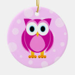 Who? Mrs. Pink Owl Pink Background Ornaments