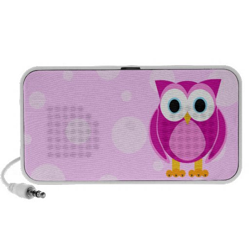 Who? Mrs. Pink Owl Pink Bubble Background Portable Speaker