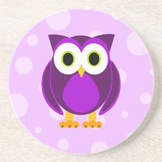 Who? Mrs. Purple Owl Bubble Background Coasters
